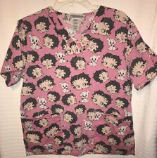Betty Boop Women's Super Cute & Fun Scrub Top Size Small~ Unique Pattern((J20))