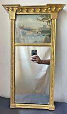 Antique Regency Gilt Wood Trumeau Mirror w/ Oil Painting Landscape 19th Century