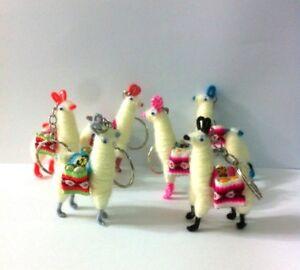 10 Peruvian Keyring / key chain Llama Figurine Handmade Collectable New Art Peru