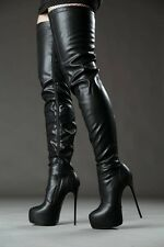 Giaro Black Over The Knee Thigh Boots High Heels BDSM Fetish EU40, US9, 9.5, 10