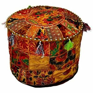 Indian Ottoman Pouffe Cover Indian Foot Stool Cover Vintage Kid Seating