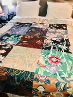 VTG 70's-80's*LOVELY!!GREEN PINK BLUE FLORAL MIXED REVERSIBLE QUILT BLANKET TWIN