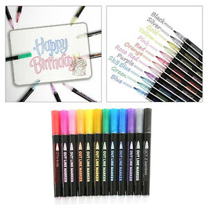 12 Pcs/Colors Outline Highlighters Bullet Journal Pens Set Double Line Marker