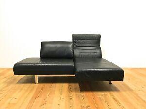 Ewald Schillig Design Sofa  Funktion Leder Couch Schwarz Schlaffsofa