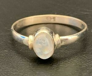 Sterling Silver Rainbow Moonstone Ring Thin Stackable Gemstone Size 8 9 Minimal