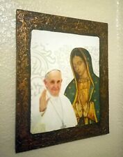 """Pope and Lady of Guadalupe image on wood (one retablo) antique finishing 12""""x10"""