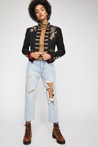 BNWT Free People Lauren Band Jacket military embroidered gold piping XS RRP £140