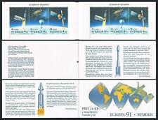Sweden 1891-1893a booklet,MNH.Michel MH 159. EUROPE CEPT-1991.Space:Satellites.