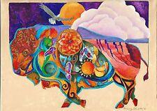 BUFFALO SPIRIT TOTEM ANIMALOriginal 12x16 Art BISON Painting Sherry Shipley