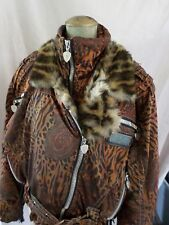 HIGH SOCIETY vintage 80s leopard print fur winter ski jacket 42 12 LARGE