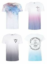 Ex Topman Mens Short Sleeve Crew Neck Summer Printed T-shirts White Size XS-XL