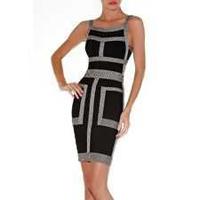 Herve Leger Jaylin Bandage Dress Black Beige Jacquard Tweed Size Small NEW