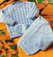 "Baby Bobble Sweater & Cardigan18"" - 20""  -  4Ply Knitting Pattern"