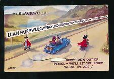 Wales Mon BLACKWOOD Llanfair Comic motoring Pocket Novelty used c1950s PPC