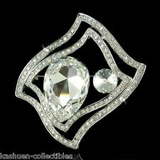 Wavy Rectangle w Swarovski Huge Crystal Chunky Stone Bridal Party Pin Brooch New