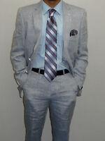 Men's Blue Linen suit By Renoir Soft Tropical Casual Dress Light Weight 601