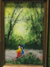 IMPRESSIONIST FRAMED ENAMEL PAINTING BY LIVIUS / LISTED