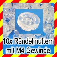 10x Rändelmutter mit M4 Gewinde aus Plaxiglas Polycarbonat in klar Transparent