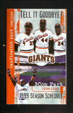 San Francisco Giants--1999 Pocket Schedule--Chevron--Mays/Bonds/McCovey