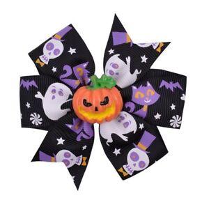 Halloween Decoration Ribbon Grosgrain Pumpkin Hair Clip Hair Bows For Girls Gift