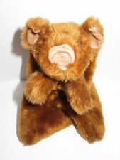 """Country Critters Plush Pig Hand Puppet Brown Hog 11"""" Stuffed Toy Vintage Pretend"""