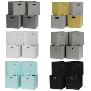Folding Square Storage Utility Box Drawer 4 Piece Fabric Cube Set Basket Bag
