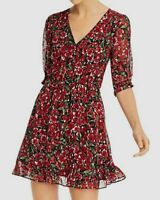 $695 The Kooples Women's Red Floral Metallic Dot Fit & Flare Dress Size US 2