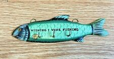 "Fish Shaped Wood Wall Key Holder  "" Wishing I Was Fishing """
