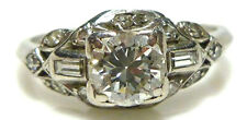 NOUVEAU .71CT ROUND BAGUETTE DIAMOND IRIDIUM PLATINUM WEDDING RING BAND ESTATE