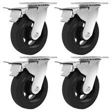 4 Pack 6 Heavy Duty Caster Swivel Top Plate Black Rubber With Brake Wheels