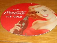 "VINTAGE DRINK COCA COLA WOMAN 11 3/4"" PORCELAIN METAL ICE COLD SODA GAS OIL SIGN"
