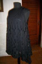 Robe courte HAUT tunique polyamide noir stretch ajouré PETER LUFT S 46/48
