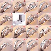 1pair plateado parejas amantes anillo circón abrir boda anillo de compromisoES