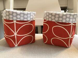 Handmade Mini Orla Kiely Print Fabric Storage Baskets Set Of 2 Orange/tomato