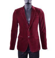DOLCE & GABBANA Velvet Velour Tuxedo Blazer Jacket Red Bordeaux 05257