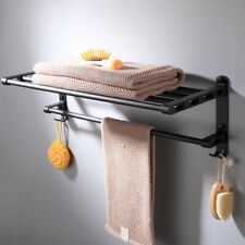 BLACK FINISH ALUMINUM BATHROOM DOUBLE TOWEL RAIL RACK BAR SHELF WALL MOUNTED