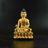 China Resin Gild Buddhism Shakyamuni Menla Medicine Buddha Medical God Statue