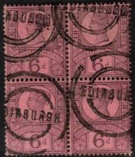 SG208 6d PURPLE/ROSE BLOCK OF 4