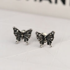 New 925 Sterling Silver Lady's Cute Butterfly Stud Earrings Antique Style Gift