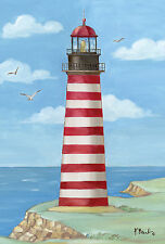 """""""West Quoddy Head Lighthouse"""" (12.5"""" x 18"""") Garden Flag by Toland"""