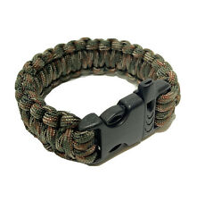 Paracord Bracelet Survival Hiking Green Camo Cobra With Emergency Whistle New