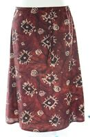 Ladies 6-12 New Red Brown Floral Knee Length Skirt Elastic Waist Light Fabric