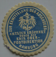 GERMANY LOCAL LABEL ENVELOPE SEAL, Kais.Postdirektion Hamburg (6633)