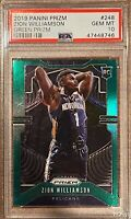 2019 Panini Prizm  Zion Williamson Green Prizms  RC ROOKIE #248 PSA 10 GEM