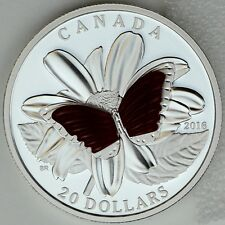 2016 $20 Colorful Wings of a Butterfly Pure Silver Color Proof Carved Agates
