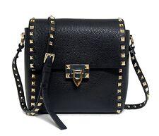 Valentino New Rockstud Flap Black Leather Shoulder Bag