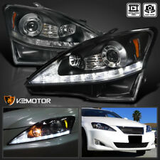 For 2006-2009 Lexus IS250 IS350 Black LED+Signal Strip Projector Headlights