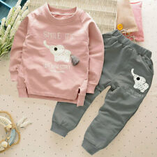 2pcs Baby Boys Clothes Long Sleeves Pants Casual Elephant Pattern Kids Outfit AU