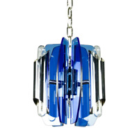 Veca Pendel Leuchte Fontana Arte Glas & Chrom Hänge Lampe Vintage 60er 70er