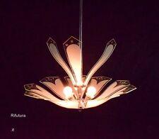 Lampadario Fontana Arte design curved glass chrome chandelier P. Chiesa? '50-10M
